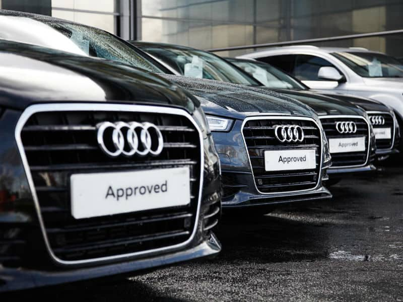 Approved used Audi cars on a forecourt