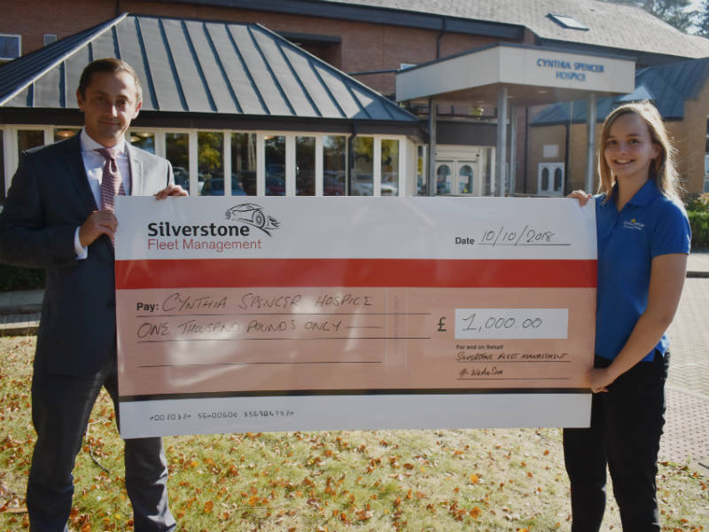 Silverstone presents 1000 cheque to Cynthia Spencer Hospice